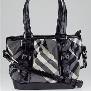 Burberry Black Beat Check Tote Bag